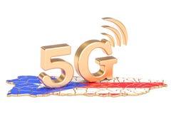 5G en el concepto de Puerto Rico, representación 3D Foto de archivo