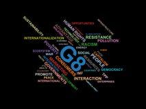 G8 - esprima il wordcloud della nuvola - termini dall'ambiente di globalizzazione, dell'economia e di politica illustrazione vettoriale