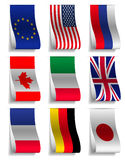 G8 and EU Flags Ribbon Labels Royalty Free Stock Photos