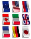 G8 and EU Flags Ribbon Labels Royalty Free Stock Photos