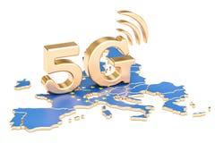 5G in Europese Unie concept, het 3D teruggeven Stock Fotografie