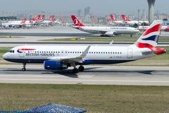 G-EUYX British Airways, flygbuss A320-232 Arkivbilder