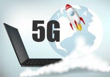 5G ewolucja Zaczyna up rakiet? Dymne chmury Sieci bezprzewodowej prędkości pojęcie, t?a b??kit laptop Realistyczny wektor ilustracja wektor
