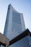 G för blåa himlar för skyskrapa för Highrise för Leipzig panoramatorn utomhus Royaltyfri Fotografi