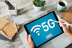 5g Fast mobile internet connection, Ne generation communication and modern technology concept. royalty free stock photo