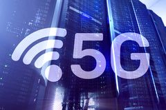 5G Fast Wireless internet connection Communication Mobile Technology concept.  royalty free stock photo