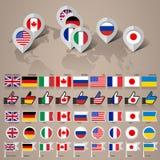 G8 flags with map big set Stock Photos