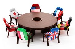 G7 flags standing around round table. 3D illustration royalty free illustration