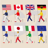G7 flags: USA, Canada, United Kingdom, Germany, France, Japan, Italy, EU. Set of simple flat people with flags of Group of Seven G7 and European Union. Standard vector illustration