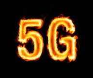 5g flaming inscription on black royalty free stock photography