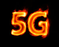 5g flaming inscription on black Stock Image