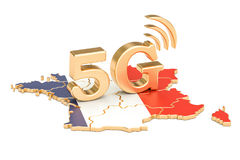 5G in France concept, 3D rendering. Isolated on white background Stock Photo
