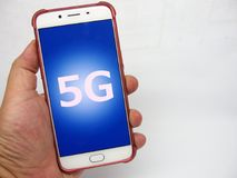 5G future connections. Picture of a phone with a 5G connection,its conceptual image of the 5th generation upcoming mobile wireless system royalty free stock images