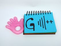 5G future connections symbolique. Picture of a teething toys hand with a sketch `G` and signal bar plus ,its conceptual image of the 5th generation upcoming stock photo