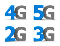 2G 3G 4G 5G icons. Blue and grey 5g, 4g, 3g, 2g symbols, icons or buttons  on white background, three-dimensional rendering, 3D illustration Royalty Free Stock Photos