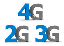 2G 3G 4G icons. Blue and grey 4g, 3g, 2g symbols, icons or buttons  on white background, three-dimensional rendering Stock Photography