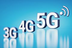 3G, 4G and 5G white letters in blurry closeup. 5G is the most recent and the fastest. Cyan background with copyspace available. 3D vector illustration
