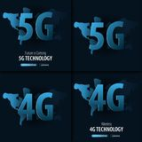 5G and 4G new wireless internet wifi connection. Banner for Social Media. Vector Illustration. 5G and 4G new wireless internet wifi connection. Banner for stock illustration