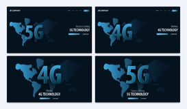 5G and 4G new wireless internet wifi connection. Website or mobile app landing page. Vector Illustration. 5G and 4G new wireless internet wifi connection royalty free illustration
