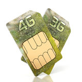 3G and 4G smartphone sim card  on white background Royalty Free Stock Photos