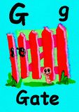 G is for gate. Learn the alphabet and spelling. G is for gate. Watercolour cartoon painting of a gate and worm. Letter G, ABC kids wall art. Alphabet flashcard vector illustration
