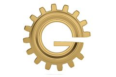 G gear 3D logo on white background. 3D illustration. G gear 3D logo on white background. 3D illustration royalty free illustration