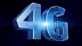 4G glass. Letters on a black background Stock Photos