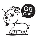 G Goat cartoon and alphabet for children to learning and colorin Stock Images