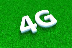 4G green grass meadow. Background 3d illustration Stock Image