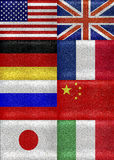 G8 Grunge Style Flags Pattern Royalty Free Stock Images