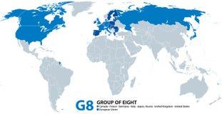 G8, Grupo de los Ocho, infographic y mapa stock de ilustración