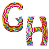 G,H Colorful wave font illustrarion. Royalty Free Stock Images