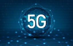 5g 4g het communicatienetwerkkaart van de netwerk globale Aarde van de van de van de achtergrond wereld Blauwe kaart Donkerblauwe vector illustratie