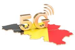 5G in het concept van België, het 3D teruggeven Royalty-vrije Stock Afbeeldingen