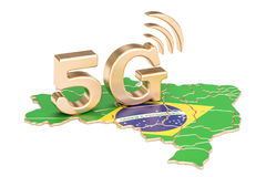 5G in het concept van Brazilië, het 3D teruggeven Royalty-vrije Stock Fotografie