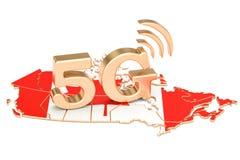5G in het concept van Canada, het 3D teruggeven Stock Foto