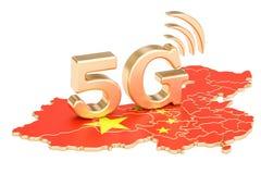 5G in het concept van China, het 3D teruggeven Royalty-vrije Stock Foto