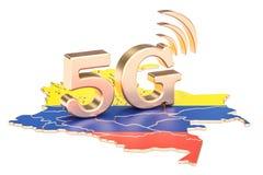 5G in het concept van Colombia, het 3D teruggeven Stock Foto's
