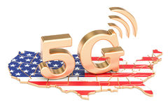 5G in het concept van de V.S., het 3D teruggeven Royalty-vrije Stock Fotografie