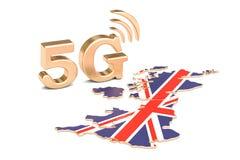 5G in het concept van het Verenigd Koninkrijk, het 3D teruggeven Royalty-vrije Stock Foto's