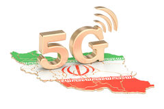 5G in het concept van Iran, het 3D teruggeven Royalty-vrije Stock Afbeeldingen