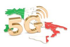 5G in het concept van Italië, het 3D teruggeven Stock Afbeeldingen