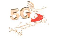 5G in het concept van Japan, het 3D teruggeven Royalty-vrije Stock Foto