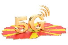 5G in het concept van Macedonië, het 3D teruggeven Stock Foto's