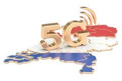 5G in het concept van Nederland, het 3D teruggeven Stock Illustratie