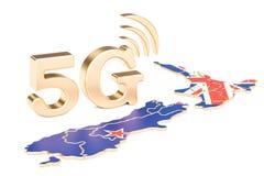 5G in het concept van Nieuw Zeeland, het 3D teruggeven Royalty-vrije Stock Foto