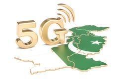 5G in het concept van Pakistan, het 3D teruggeven Royalty-vrije Stock Foto