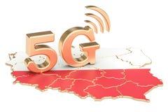 5G in het concept van Polen, het 3D teruggeven Stock Foto's