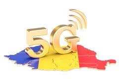 5G in het concept van Roemenië, het 3D teruggeven Stock Illustratie