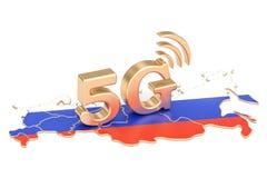 5G in het concept van Rusland, het 3D teruggeven Royalty-vrije Stock Foto